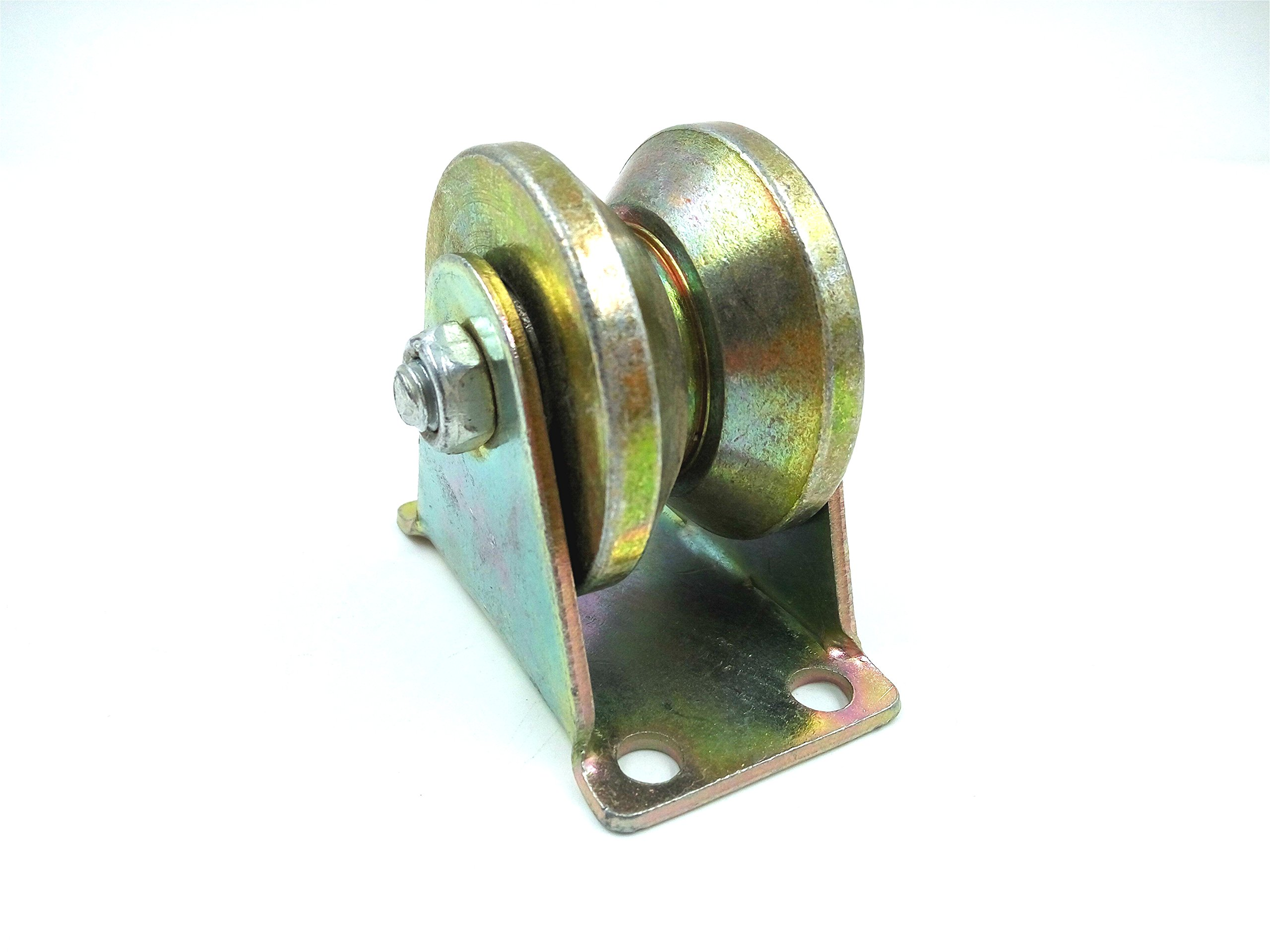 Wang-Data 59mm Dia Yellow 45# Steel V Groove Rigid Caster Wheel for Industrial machines Carts 300KG