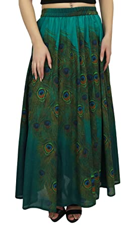 9a03960fb71 Bimba Women s Green Peacock Feather Print Cotton Summer Skirt Elastic  Waist-S