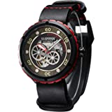 SURVAN WatchDesigner Japanese Automatic Watch for Men Sapphire Crystal Mechanical Skeleton Wrist Watch Leather Strap