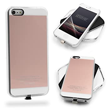 Urcover® Funda de Carga Inalámbrica | Premium | Apple iPhone SE / 5 / 5s | Receptor Qi Integrado | Oro Rosa | Backcase Cargador Carga Rapida Bumper ...