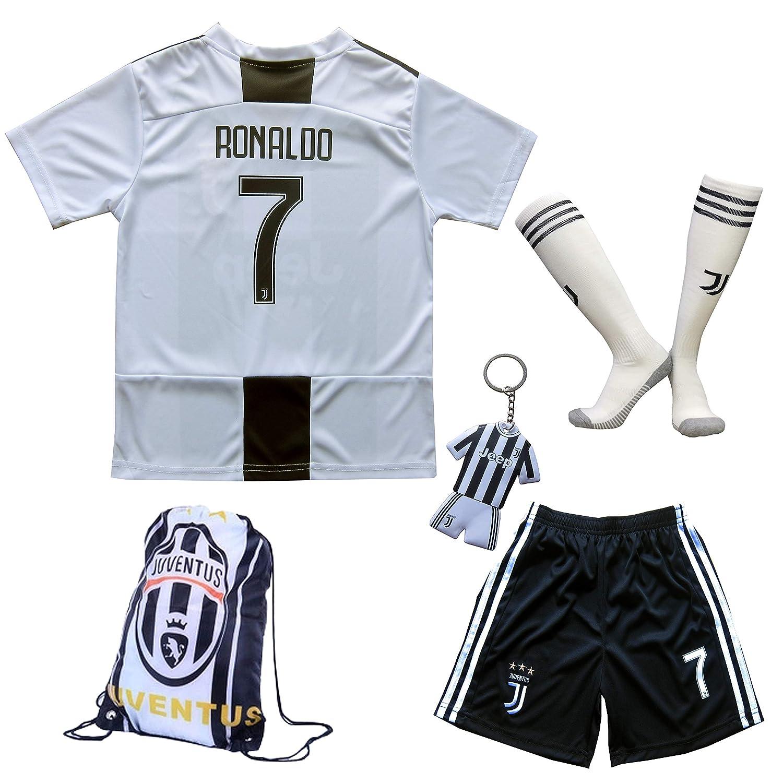 40d5b460f7466 Amazon.com   GamesDur 2018 2019 Cristiano Ronaldo  7 Home Football Soccer  Kids Jersey   Short   Sock   Soccer Bag Youth Sizes   Sports   Outdoors