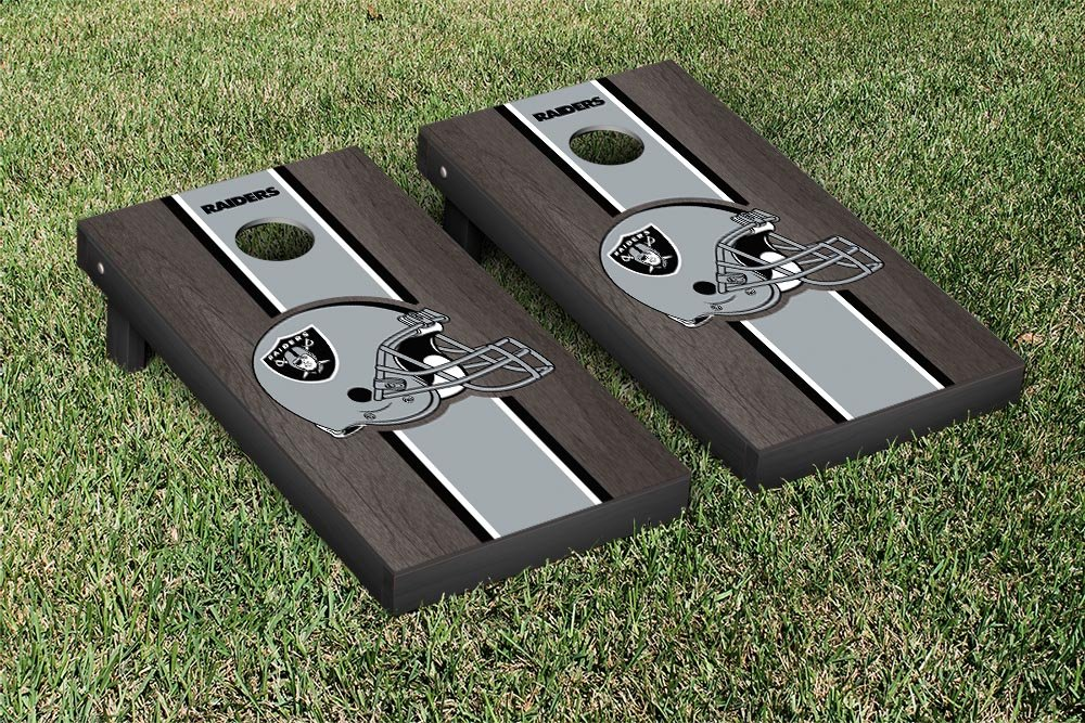 Victory Tailgate NFL Oakland Raiders Onyx Stained Stripe Version Football Cornhole Game Set, 24'' x 48'', Multicolor