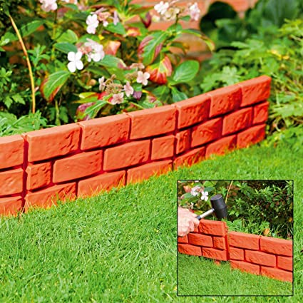 Parkland Terracotta Pack of 4 Instant Brick Effect Garden Border Lawn Edging Pl
