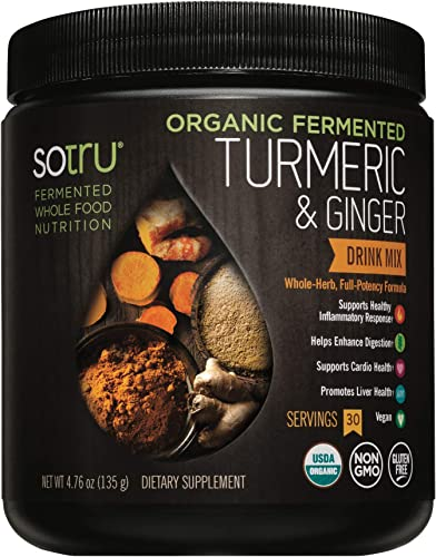 SoTru Turmeric Ginger Drink Mix - 4.76 oz. - Whole Food, Fermented Herbal Supplement Powder with Curcuminoids - USDA Certified Organic, Non-GMO, Vegan, Gluten-Free - 30 Servings