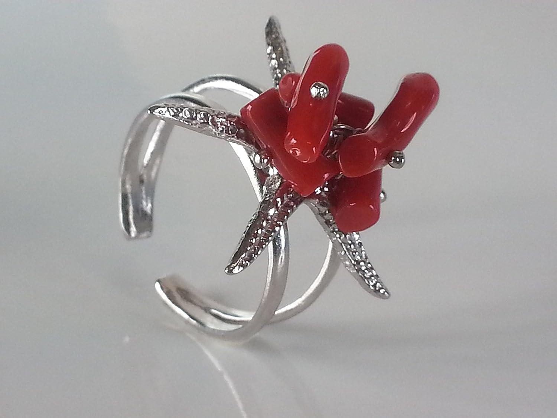 Anello argento regolabile con corallo naturale