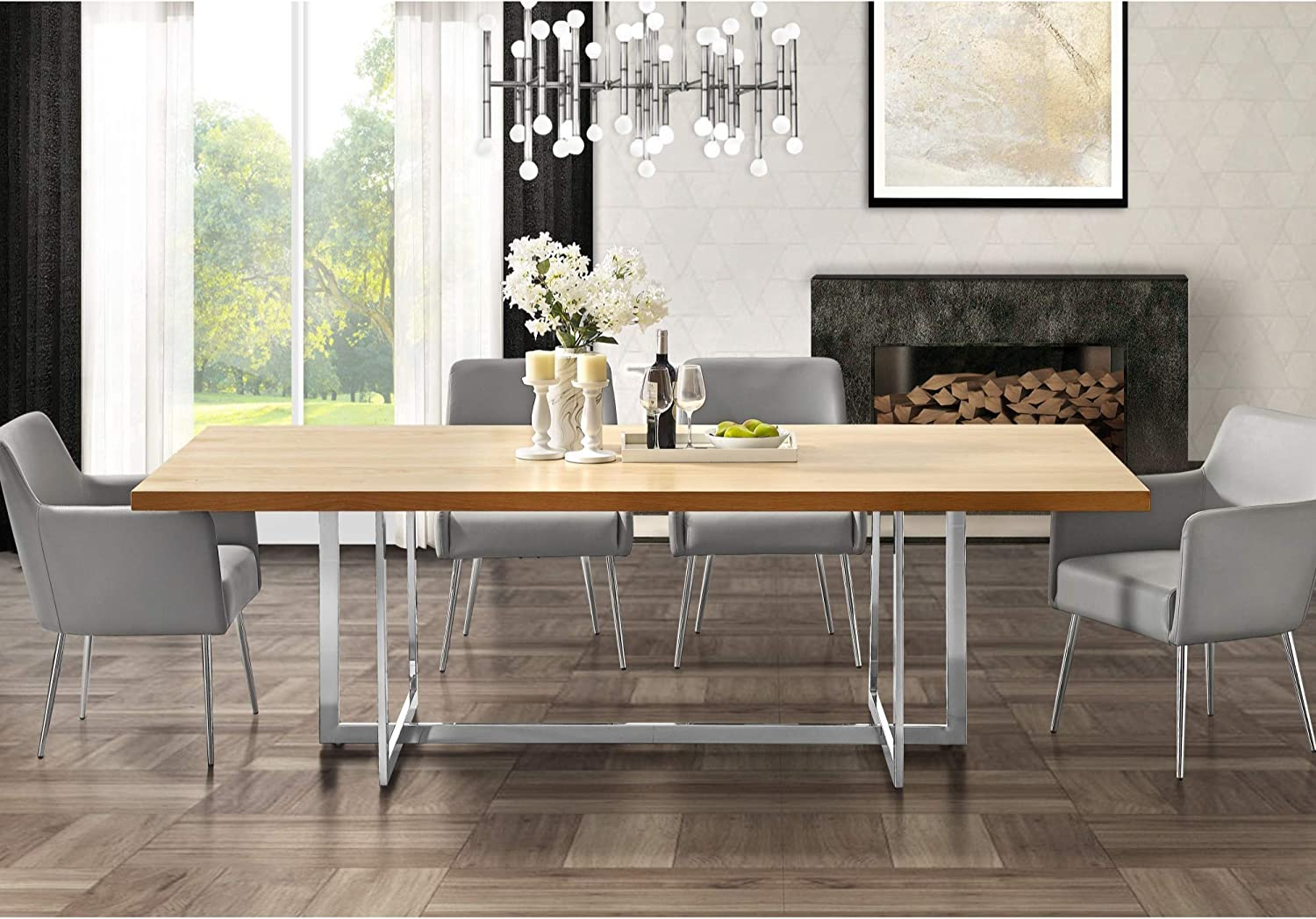 Amazon Com Maxim Wood Veneer Dining Table Polished Metal Base Modern Design Oak Chrome 94 5in Tables