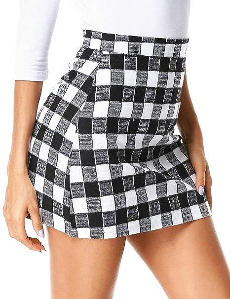 d518b1336 ZEGOLO Mini Plaid Skirt for Women Cute Basic High Waist Bodycon Plaid Girls  Mini Short Skirt