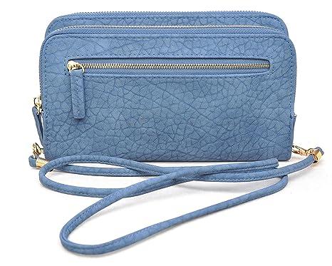 47acaa2983c9de Amazon.com: Urban Expressions Rochelle Crossbody Clutch Wallet (Blue ...