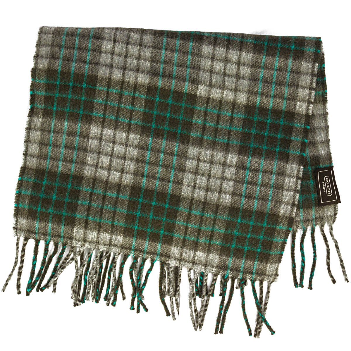 e86f25f0e coach mens 100% cashmere plaid scarf grey and green color combo at Amazon  Men's Clothing store: