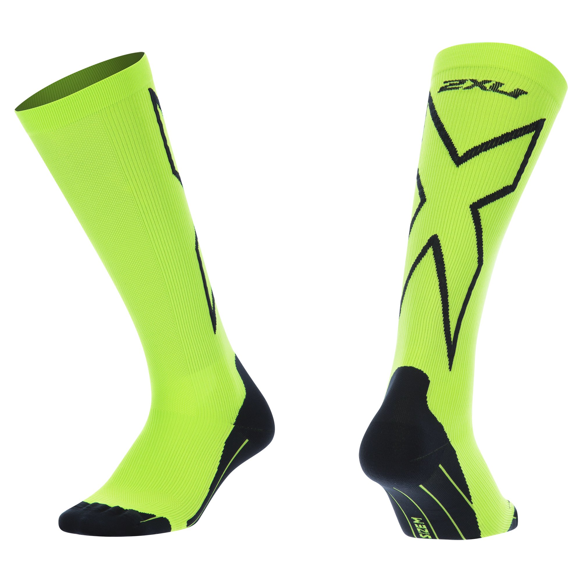 2XU Men's Compression performance X Socks, Fluoro Green/Black, X-Large