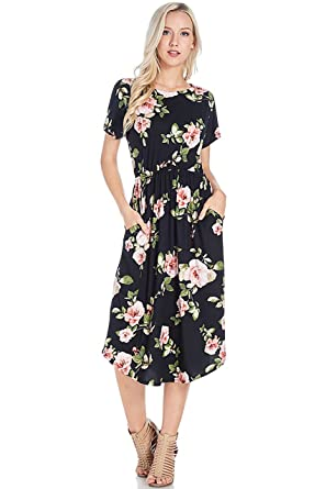 9d3ebe936b Shopglamla Floral Print Round Neck Hem Flared Short Sleeves Pocket Midi  THICK Dress (POLY SPANDEX) Sweet Sunrise Floral