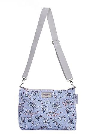 Reversible Messenger Cross Body Canvas Zip Shoulder Bag Floral Owl Spot Rose  (Medium, Birds 7142df3909
