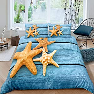 Castle Fairy Blue Background Microfiber Duvet Cover Twin Starfish Bedding Sets for Boys Girls Teen Blue Board 2 Pieces Comforter Sets(1 Duvet Cover 1 Pillow case)