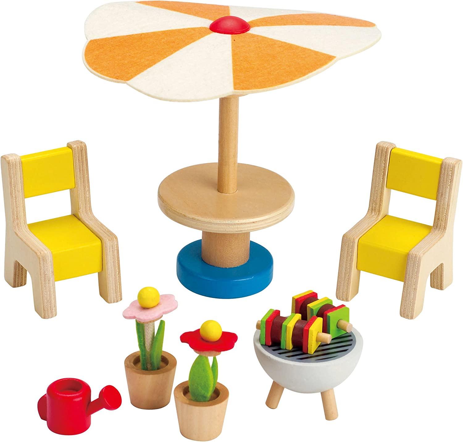Amazon Com Hape Wooden Doll House Furniture Patio Set With Accessories Toys Games