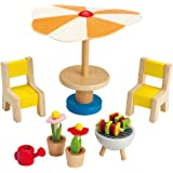 Hape Wooden Doll House Furniture Patio Set with Accessories