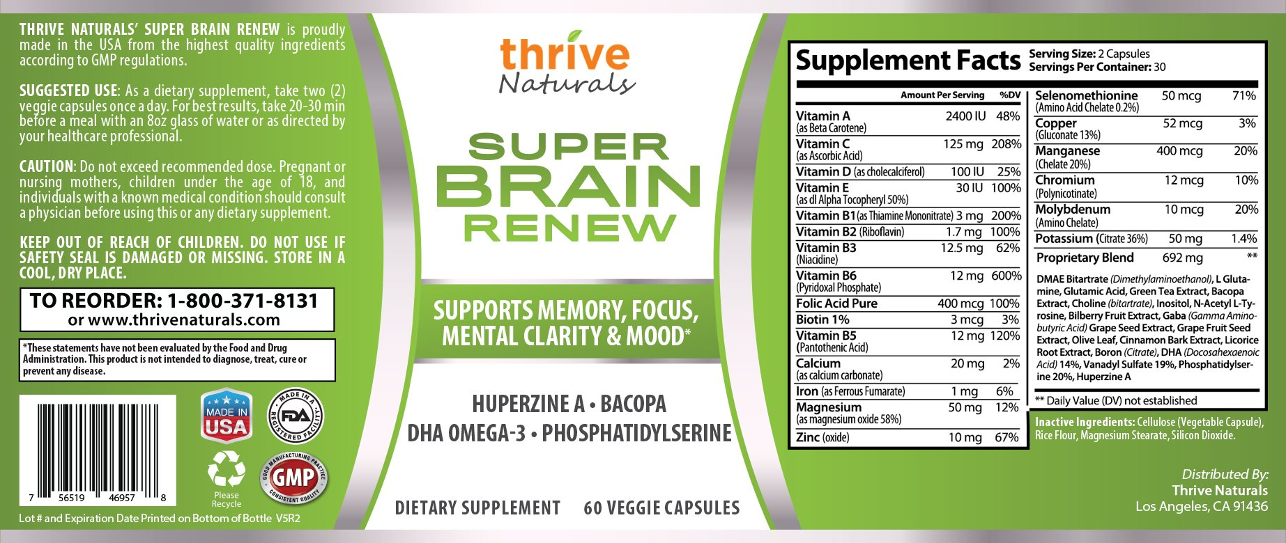 Thrive Naturals Super Brain Renew - Maximum Strength for Improved Cognitive Function, Memory, Focus and Mental Clarity - 60 Vegetarian Capsules - 1 Month Supply by Thrive Naturals (Image #3)