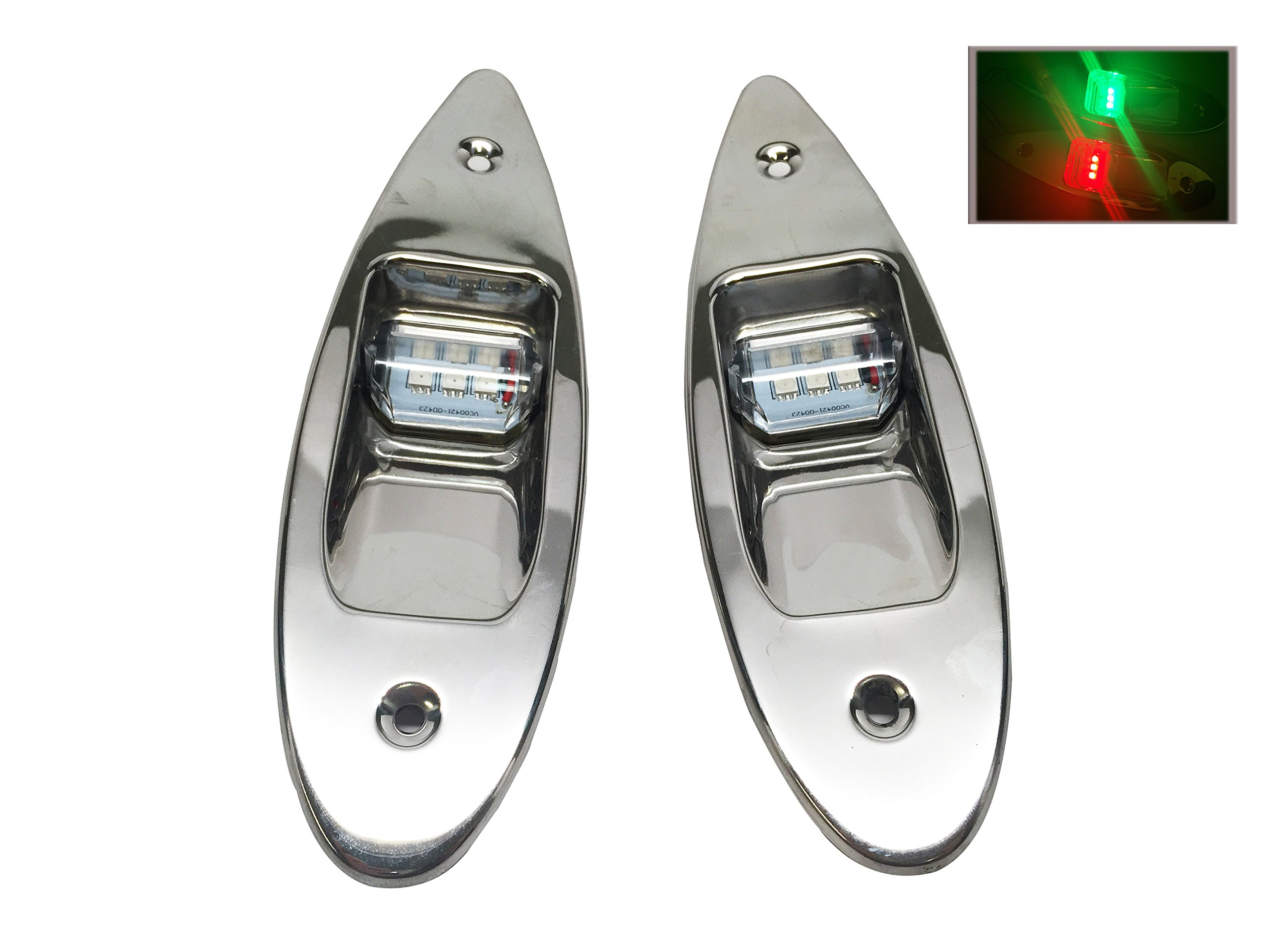 Pactrade Marine Boat Navigational Pair of LED Side Tear Drop Lights SS Vertical Mount, 12V by Pactrade Marine
