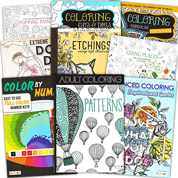 Amazon.com: Adult Coloring Book Bundle With 8 Deluxe Coloring Books For  Adults And Teens (Over 250 Stress Relieving Patterns).: Toys & Games