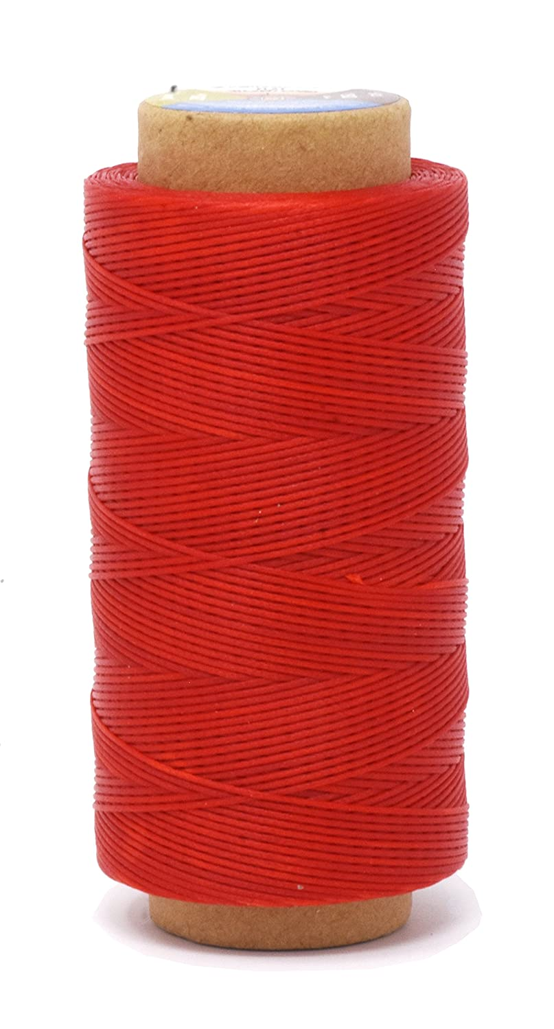 Mandala Crafts 150D 210D 0.8mm 1mm Leather Sewing Stitching Flat Waxed Thread String Cord 210D 1mm 180M, Red