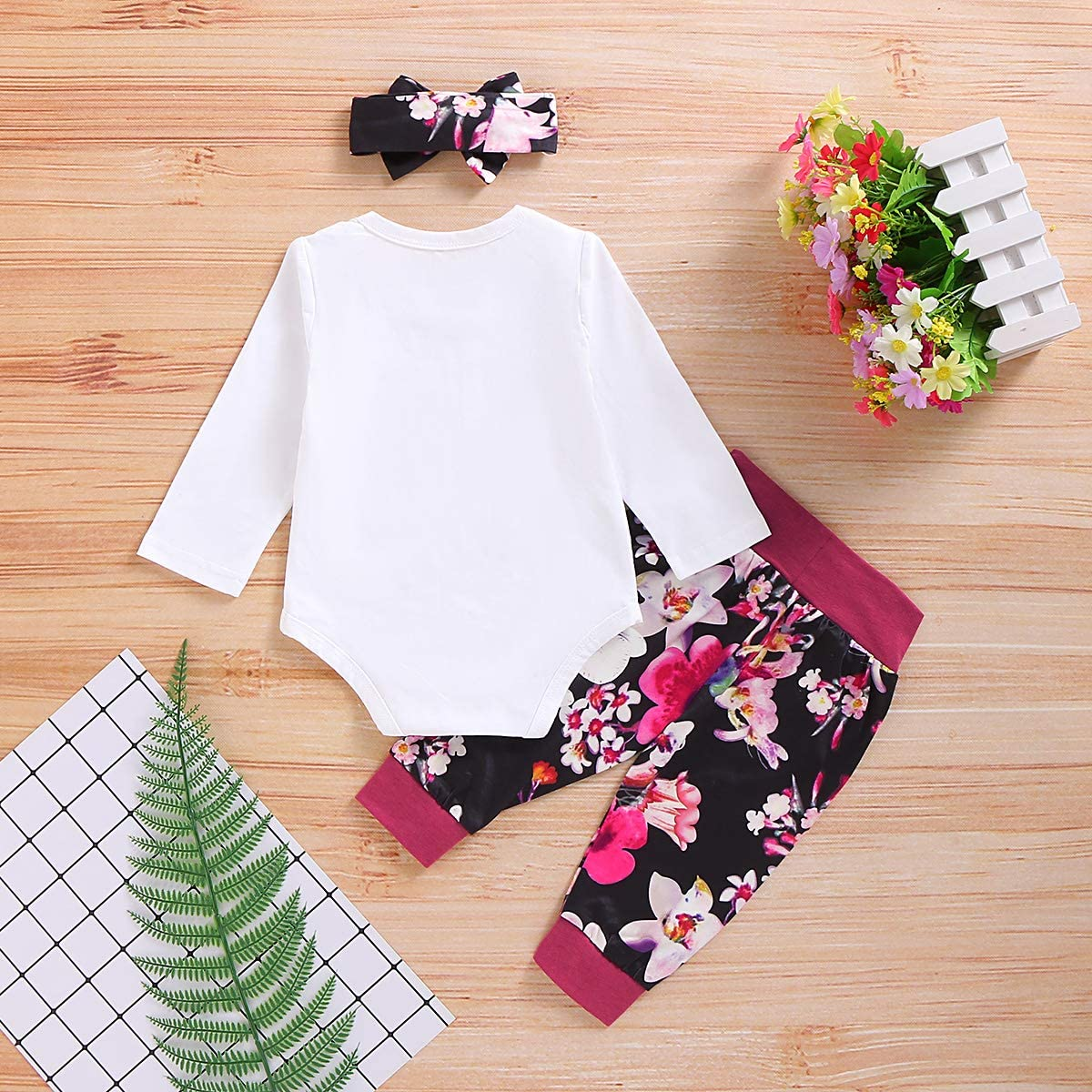 DaMohony Direct Baby Girl Outfits Newborn Baby Girl Clothes Long Sleeve Romper Floral Pants Headband Toddler Girl Outfits Set