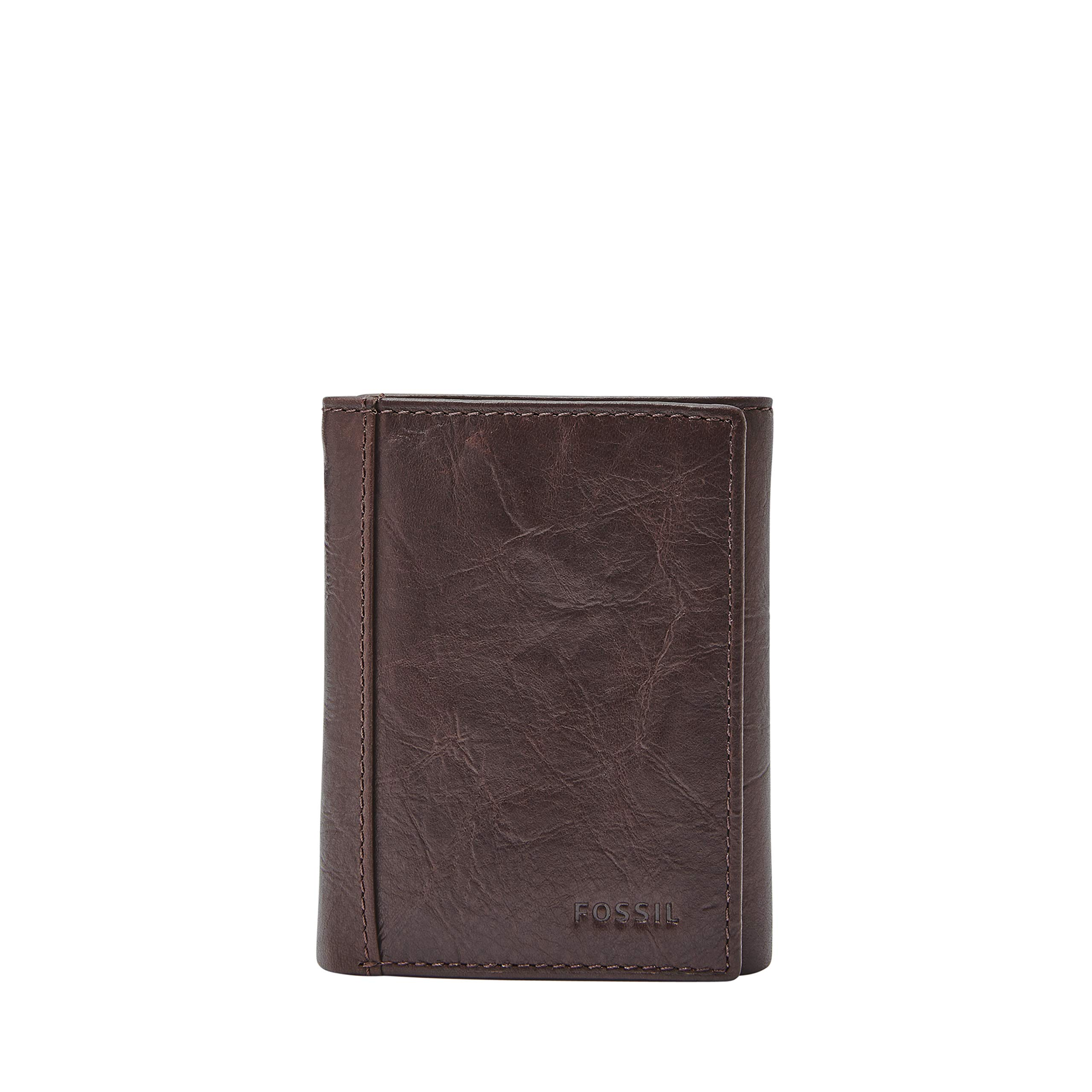 Fossil Men's Neel Leather Trifold Wallet, Brown, One Size