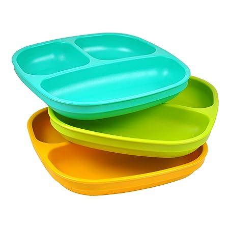 Re-Play Set de platos infantiles, 3 unidades, sin bisfenol A, sostenible debido al material reciclado, fabricado en Estados Unidos