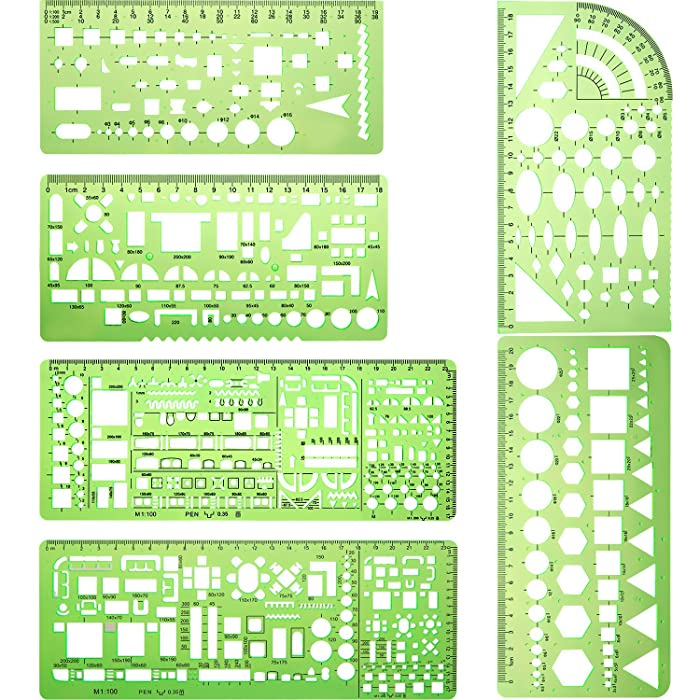 6 Pieces Plastic Measuring Templates Building Formwork Stencils Geometric Drawing Rulers for Office and School, Clear Green