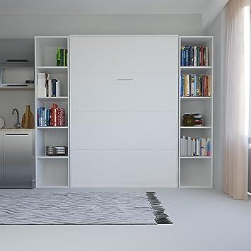 SMARTBett Schrankbett 140x200 Vertikal Weiß ohne Matratze: Amazon.de ...