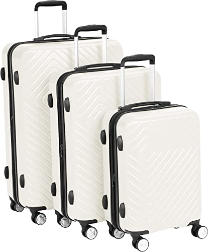 AmazonBasics 3 Piece Geometric Hard Shell Expandable Luggage Spinner Suitcase Set – Cream