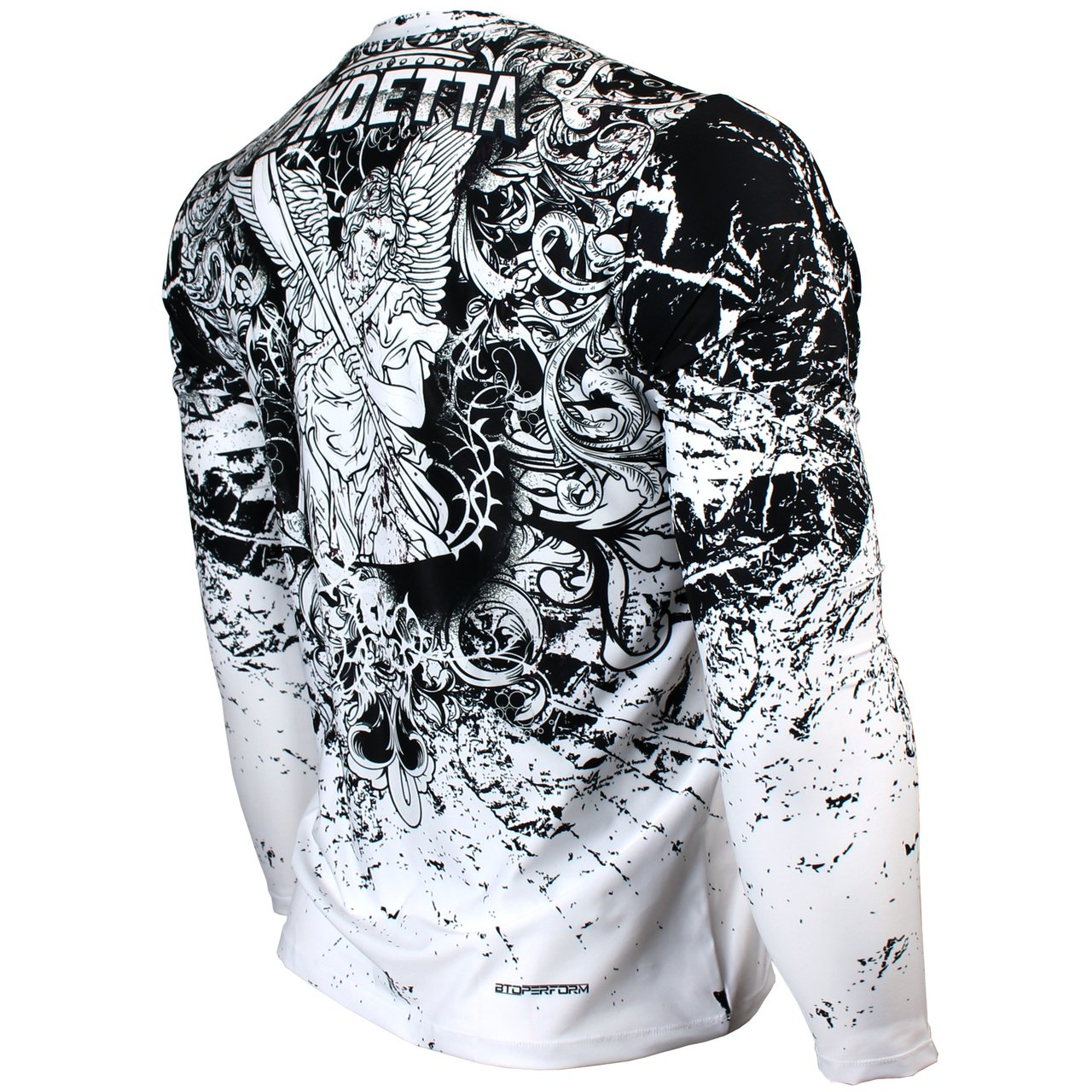 White Full Graphic Loose-Fit Long Sleeve Crew Neck Shirts FR-155W Btoperform Vendetta