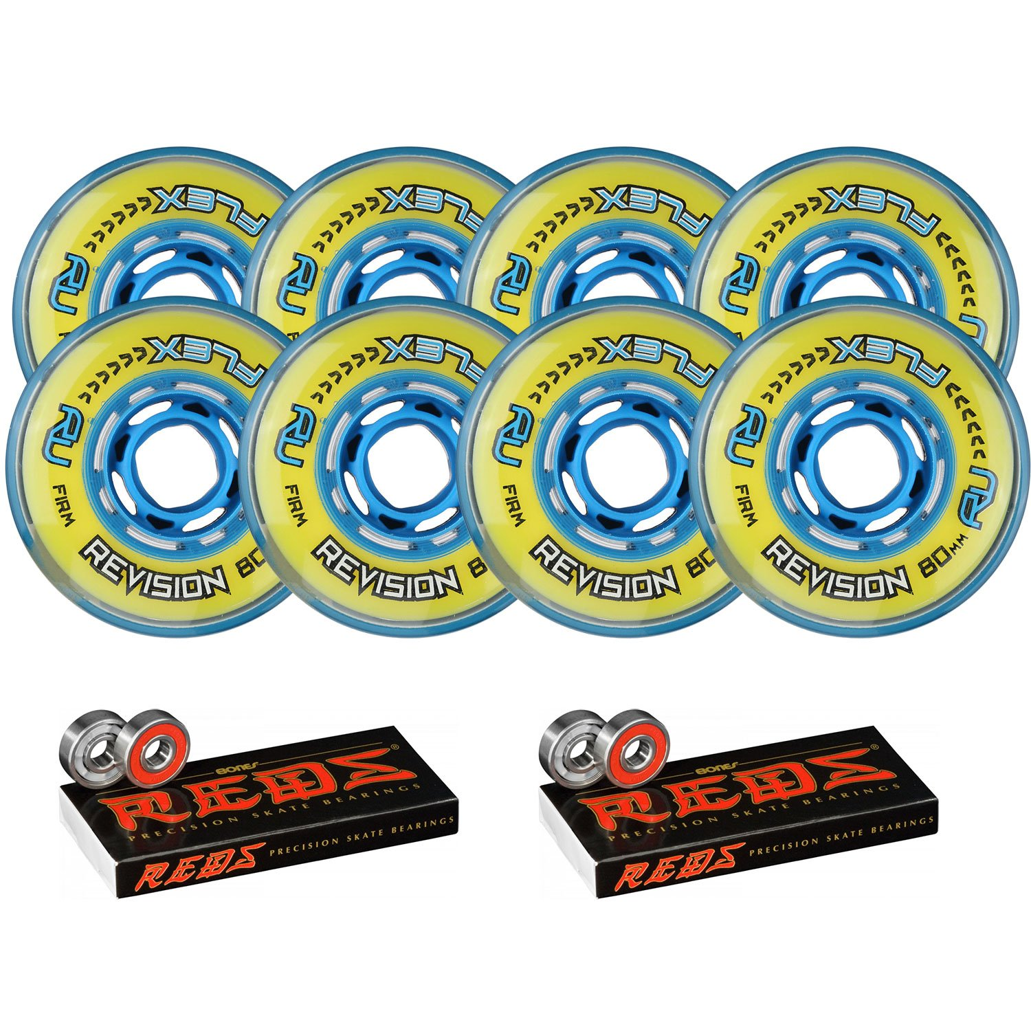 Revision Wheels Inline Roller Hockey Flex Firm 76/80mm 80A Hilo + Bones Bearings