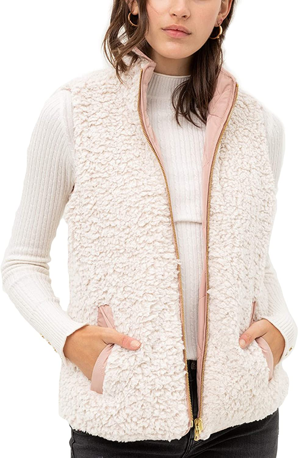 Reversible Sherpa Fleece Zip Up Jacket with Pockets FASHION BOOMY Womens Quilted Padding Vest