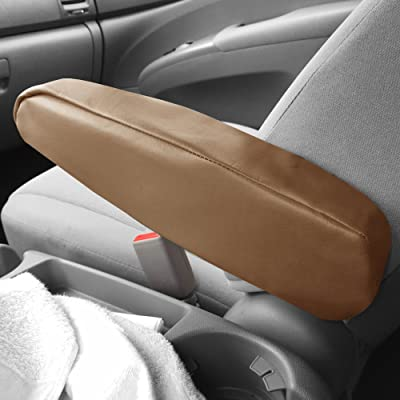 FH Group FH1052TAN Armrest Cover Semi-Universal (Tan Premium Faux Leather ) Set of 2: Automotive