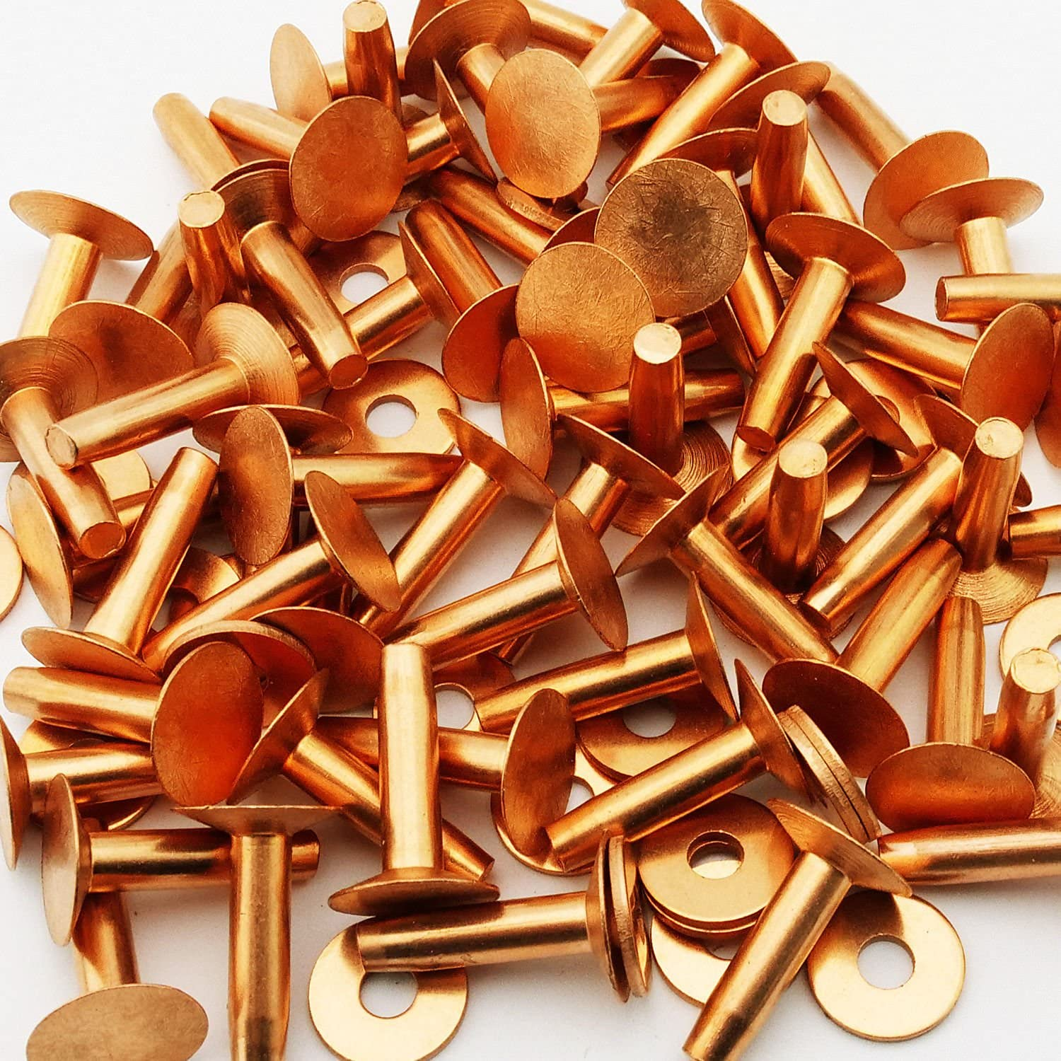 Plain Finish, Pack of 1//2lb - Approximately 28 Pieces Round Head 1//4 Dia X 5//8 Length Copper Solid Rivet