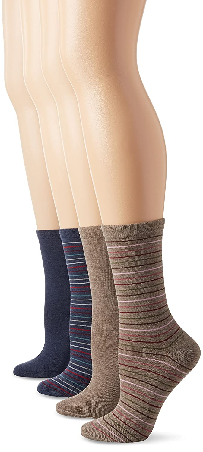 PEDS Women's Light Brown and Denim Heather Solids and Stripes Crew Socks 4 Pairs 81P2WFOXrzL