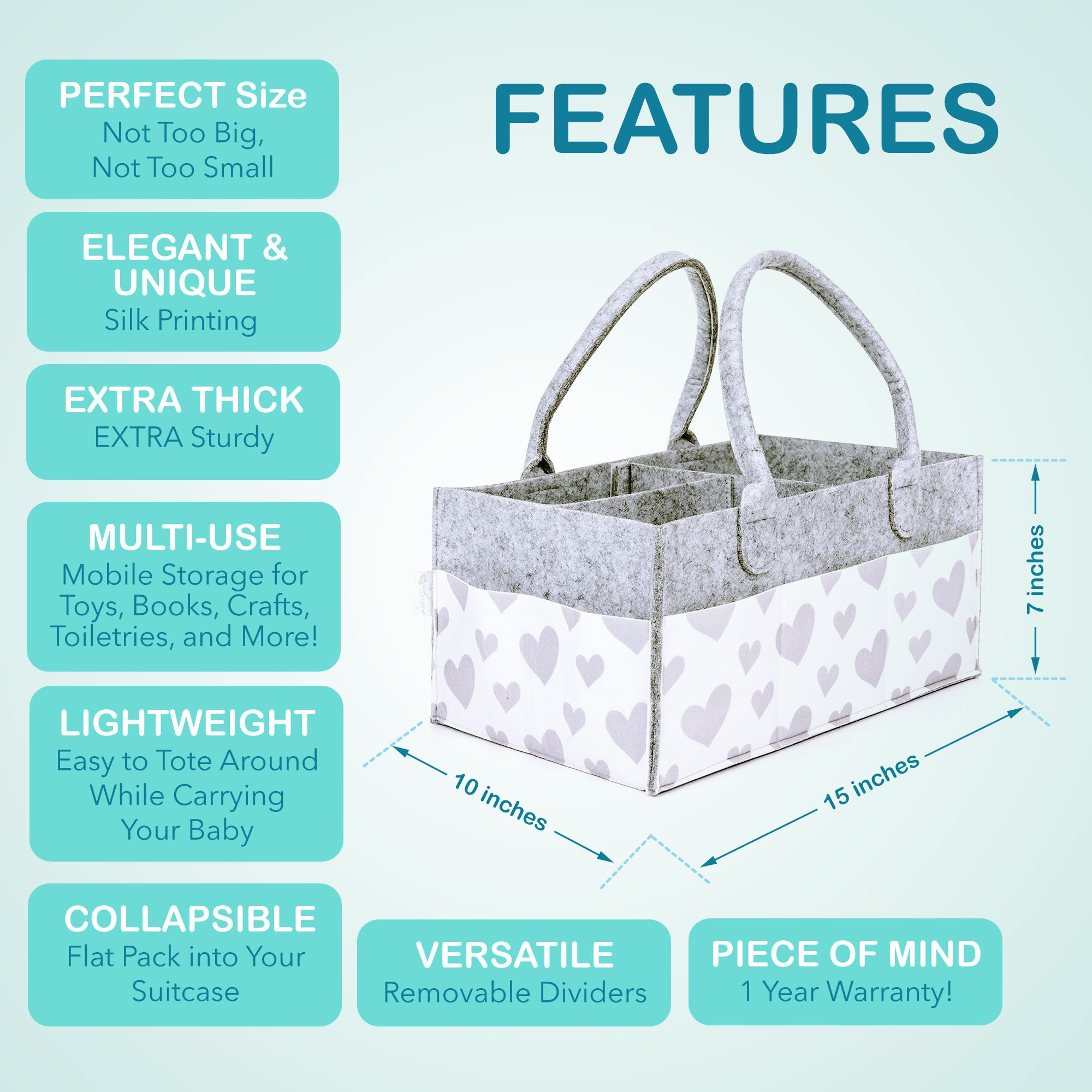 Galleon - Baby Diaper Caddy And Toy Storage Basket | Portable Diaper ...