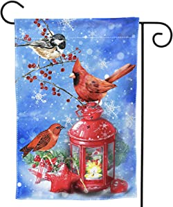 """DZGlobal Red Cardinal Birds Garden Flag - Welcome Winter Snowflake Double Sided Yard Flags 12"""" X 18"""" Oil Lamp Decorative Garden Flag Banner for Outdoor Home Decor Party"""