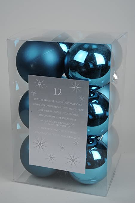 Teal Christmas Baubles 60mm