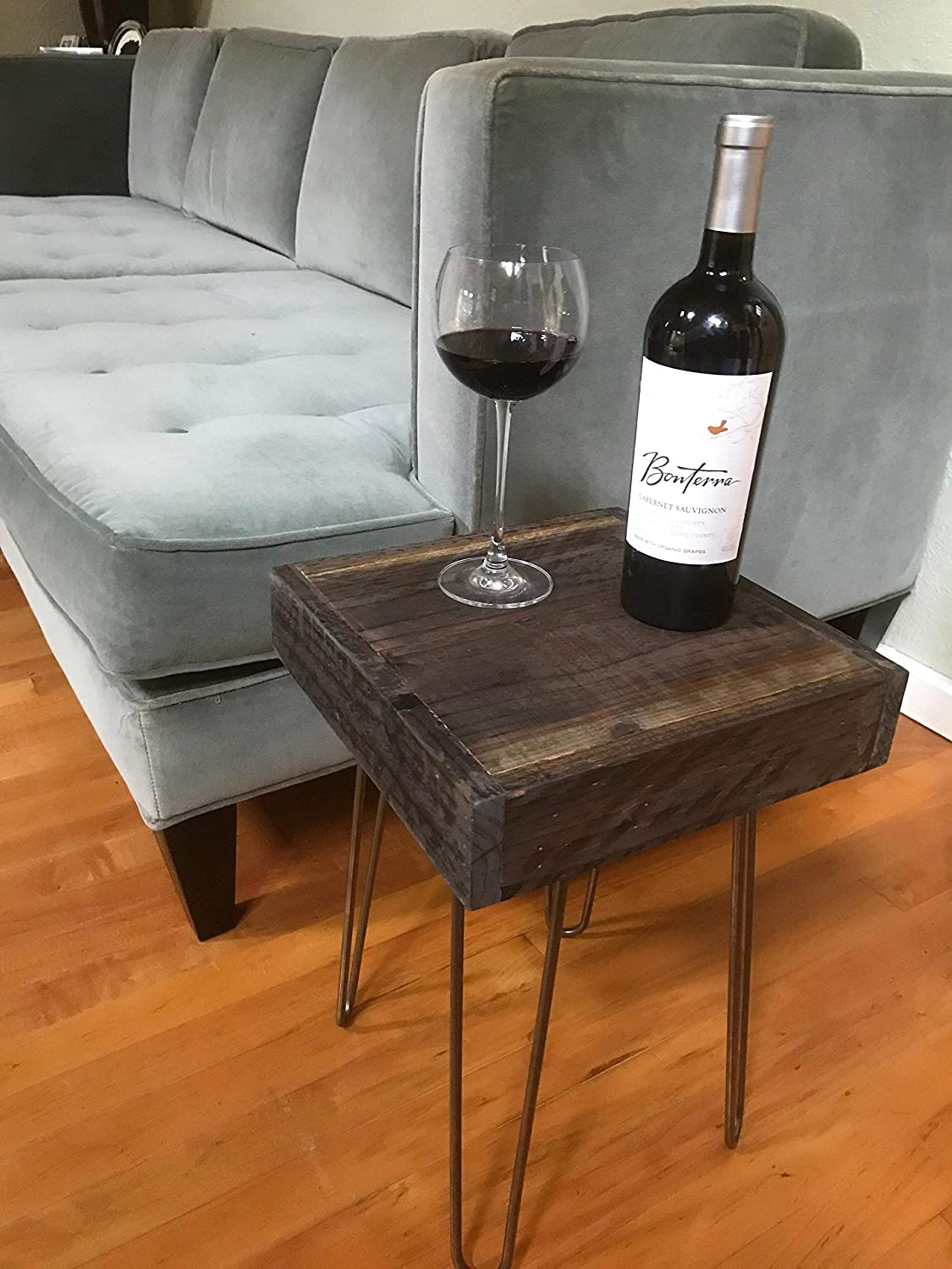 Beautiful Rustic yet Modern Barn Wood End Table with Hairpin Legs.