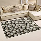Naanle Sports Area Rug 3'x5', Baseball Polyester Area Rug Mat for Living Dining Dorm Room Bedroom Home Decorative