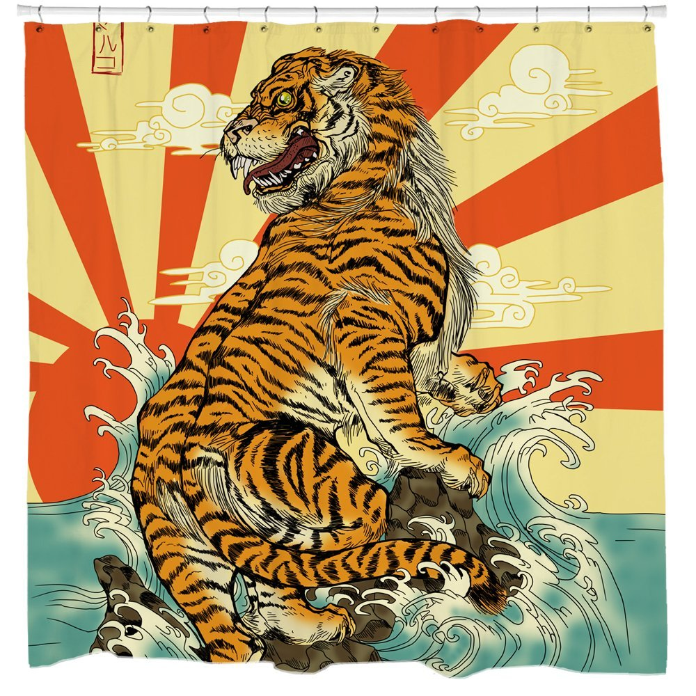 Japanese Tiger Shower Curtain Set Rising Sun Waterproof and Mildew Resistant