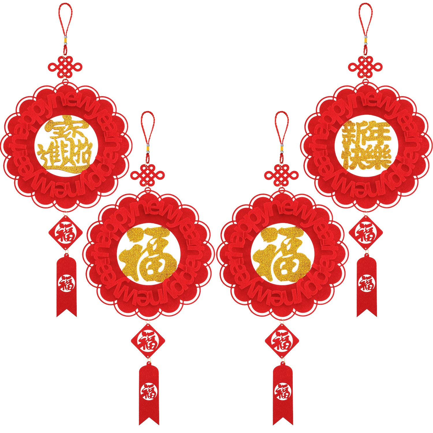 Boao 4 Pieces Fu Chinese Spring Festival Home Decor Chinese Knot Tassel Wall Hanging Decoration Chinese New Year Decoration for New Year Home Restaurant Office Decor