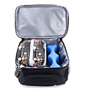 Pebble & Pear Breastmilk Cooler Bag with Ice Pack and Baby Wet Bag (Black/Black) - Perfect for Pumping Needs