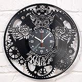 Vinyra Steampunk Owl Vinyl Record Clock - Industrial Wall Clock Gears Decor Retro Wall Gothic Grandfather Vinyl Gift Victoria