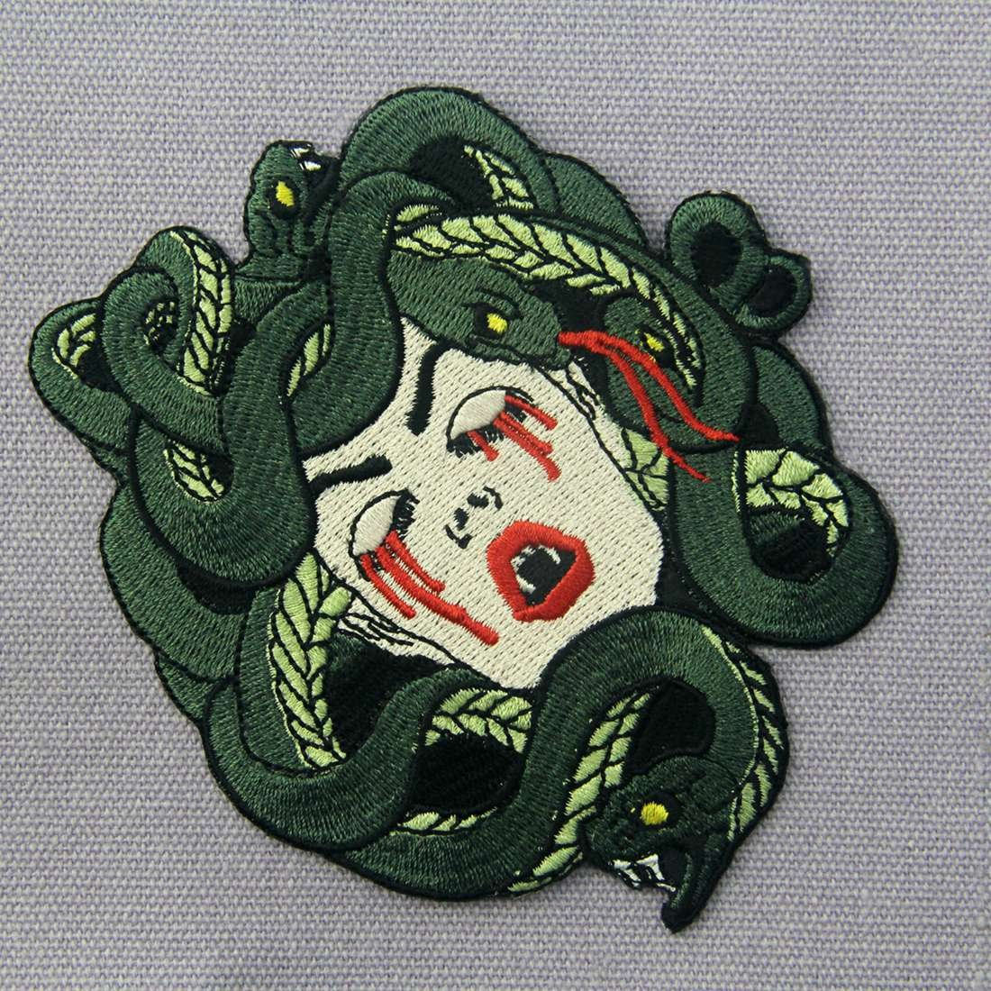 ZEGINs The Bleeding Medusa Embroidered Badge Iron On Sew On Patch