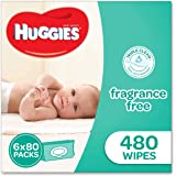 Huggies Fragrance Free Baby Wipes Bundle Pack (Pack of 480), (6 x 80 Pack), Packaging may vary