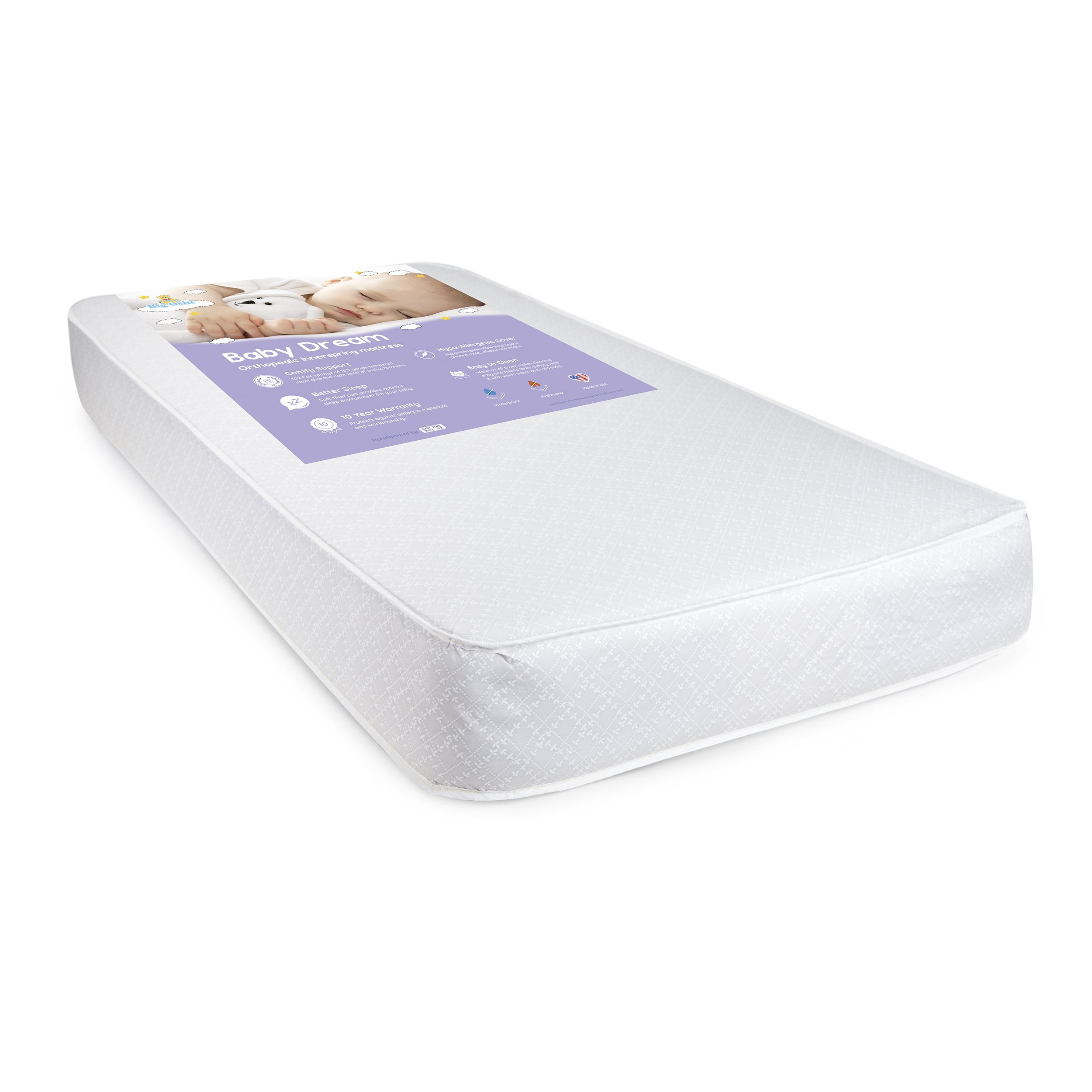 Big Oshi Full Size Thick Baby Crib Mattress - Orthopedic Innerspring Mattress with 102 Coil Springs - Includes Waterproof Cover - Make Clean up Easy - Safe, Hypoallergenic Material - White, 52''x27.5'' by Big Oshi