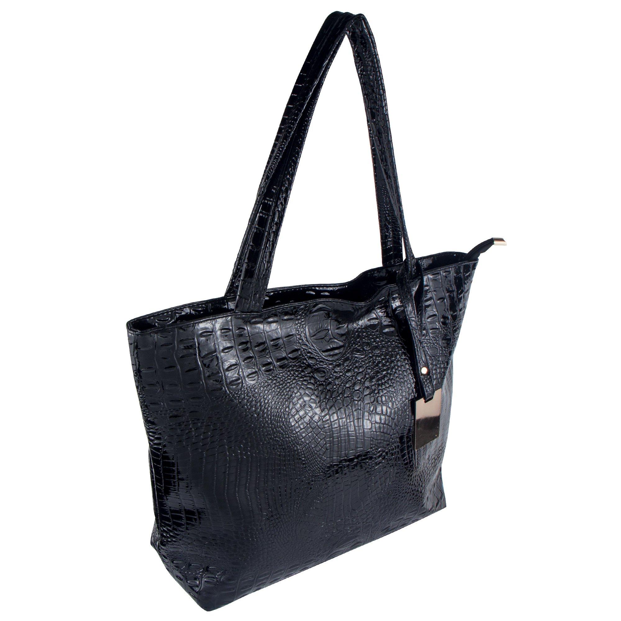 Bagood Womens Crocodile Pattern PU Leather Casual Shopping Handbags High Capacity Shoulder Ladies Soft Bag for Wedding Bridal Prom Party Black by Bagood (Image #7)