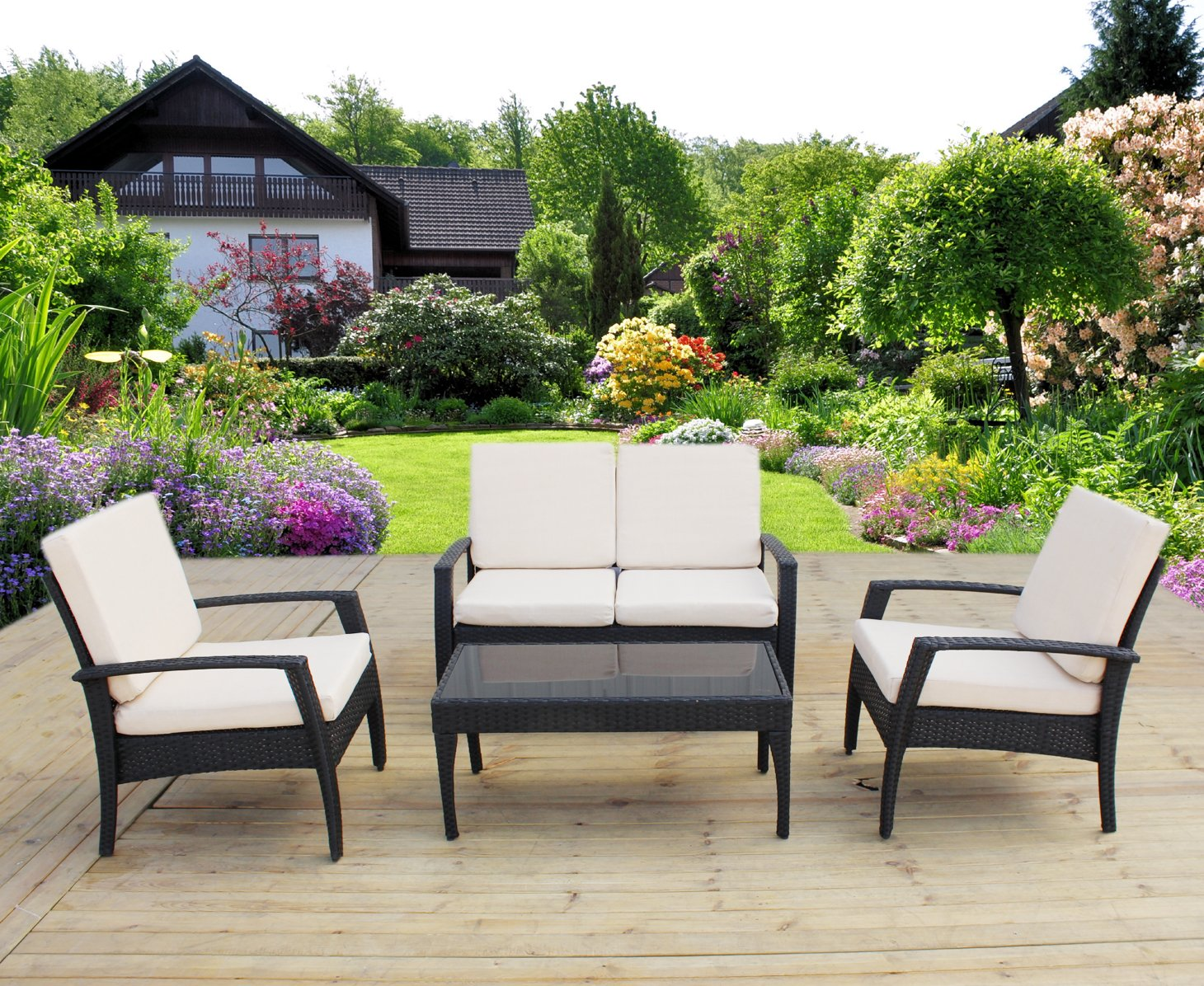 HereDeco 4PCS Patio Rattan Wicker Furniture Set Cushioned Outdoor Wicker Sofa Couch Lawn Chair Table (Black Wicker)