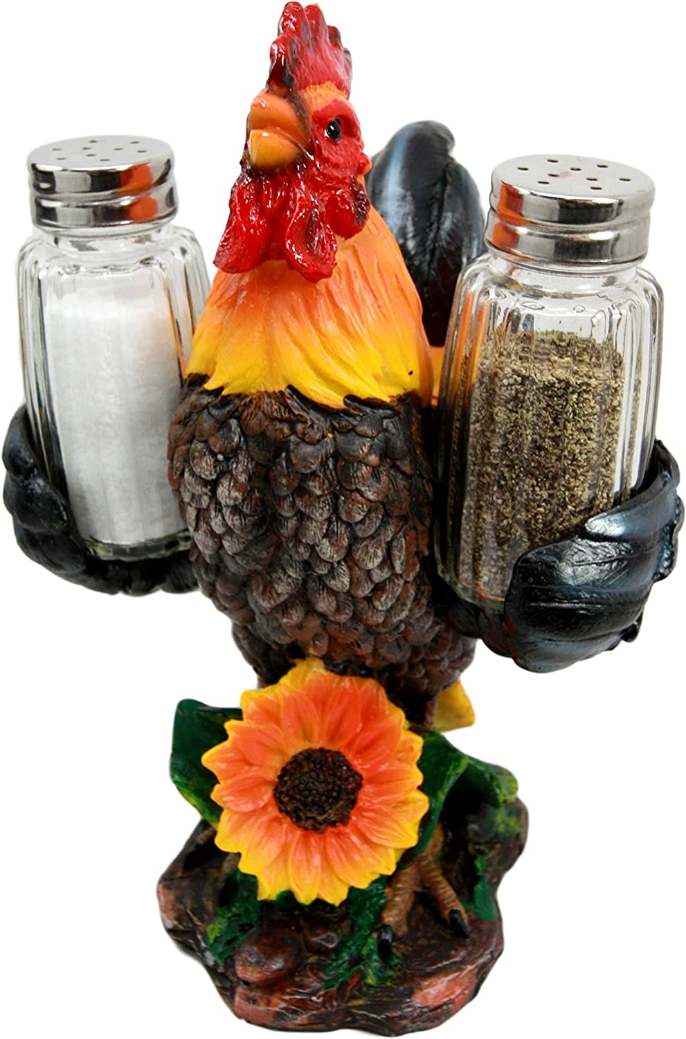 Ebros Country Farm Barnyard Alpha Rooster Salt and Pepper Shakers Holder Figurine Set Sunflower Poultry Chicken Seasonings Decor (1)